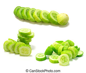 cucumber collage isolated on white