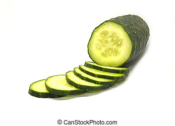 Cucumber cut into slices and isolated on a white background