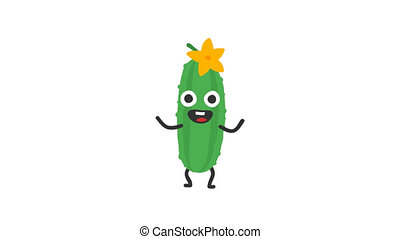 Cucumber funny character dances and smiles. Loop animation....