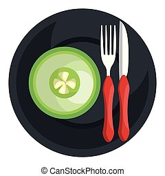 cucumber in dish with fork and knife