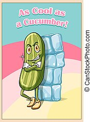 Cucumber leaning against ice