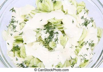 Cucumber salad with cream