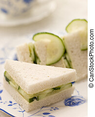 Cucumber Sandwich on White Bread with Afternoon tea