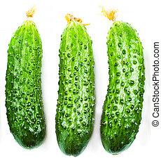 Cucumber set isolated on white background close up