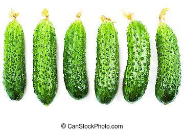 Cucumber set isolated on white background close up.