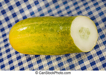 Cucumber sliced on the table