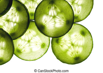 Cucumber slices as background
