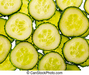 cucumber slices in a lumen on a white background