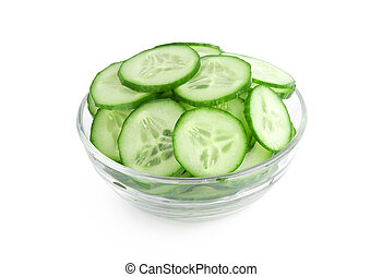 Cucumber slices isolated over white background