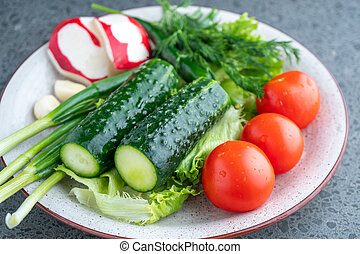 cucumber, tomato, radish, parsley, onion and other vegetables on a plate