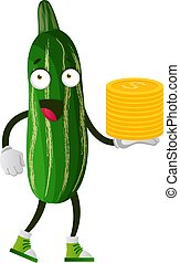 Cucumber with coins, illustration, vector on white background.