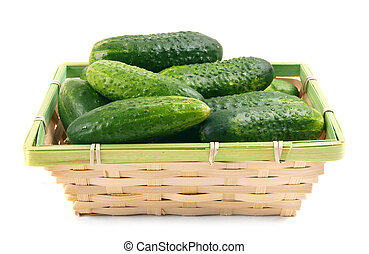Cucumbers in a basket.