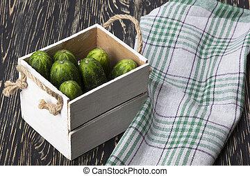 Cucumbers in a box.