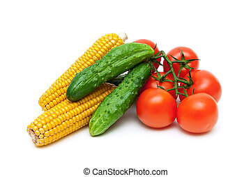 cucumbers, tomatoes and corn on a white background close-up