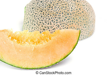 Cucumis melo or melon with half and seeds isolated on white (Other names are Melon, cantelope, cantaloup, honeydew, Crenshaw, casaba, Persian melon, and Santa Claus or Christmas melon)