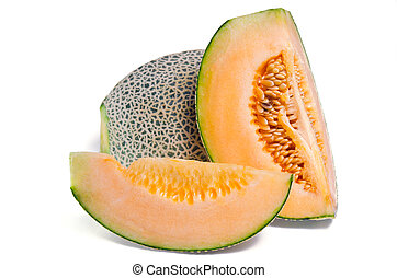 Cucumis melo or melon with half and seeds on white (Other names are cantelope, cantaloup, honeydew, Crenshaw, casaba, Persian melon, and Santa Claus or Christmas melon)