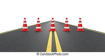 cucuruchos de tráfico, camino