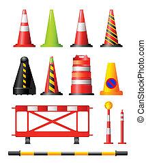 cucuruchos de tráfico, postes, tambores, y