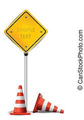 cucuruchos de tráfico, y, signo amarillo