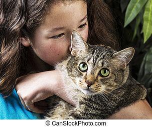 Cuddling Family Pet