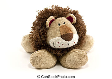 lion - cuddly lion toy isolated on white background