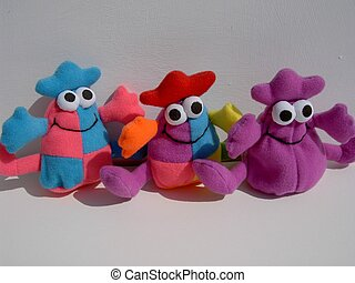 Colourful cuddly toys.