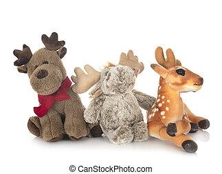 cuddly toys in studio