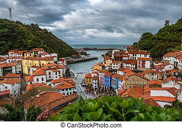 Cudillero village top view in Asturias