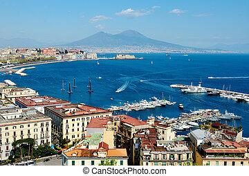 cudowny, neapol, panoramiczny prospekt, z, vesuvius