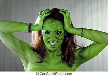 cudzoziemiec, kobieta, zielony