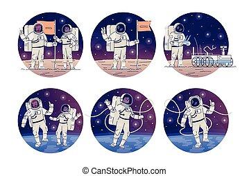 cudzoziemiec, księżyc, set., powaga, zewnętrzny, pojęcie, ...
