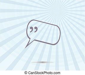cudzysłów, mowa, bubble., zacytować, znak, ikona
