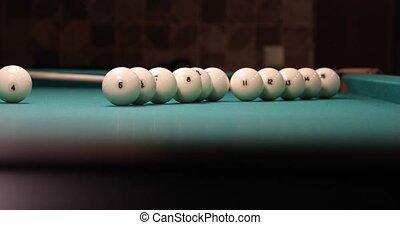 cue spins balls for billiards video 4k.