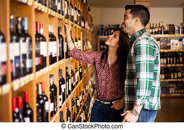 cueillette, quelques-uns, haut, magasin, vin