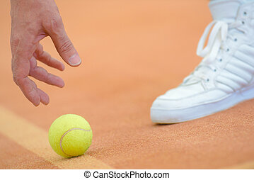 cueillette, tennis, haut, balle