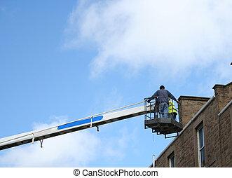 cueilleur, cerise, ouvriers, inspection, toit