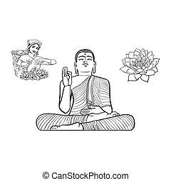 cueilleur, femme, lotus, thé, vecteur, bouddha, fleur, statue
