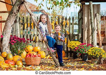 cueillir, ferme, fruits, autumn., légumes, enfants, mûre