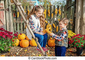cueillir, légumes, fruits, mûre, ferme, enfants, autumn.