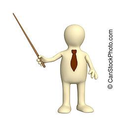 cueillir, -, marionnette, homme affaires, cravate, 3d