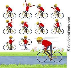cuello, bicicleta, negro, camino, viejo, alto, hombre, plano...