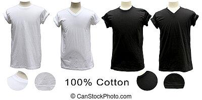 cuello, camiseta, negro, v, blanco, redondo