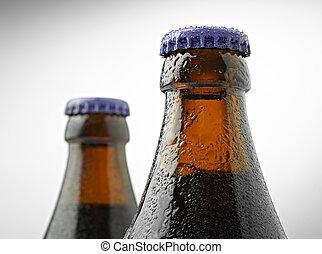 cuello, de, un, trapense, botella de cerveza, con, un, tapa