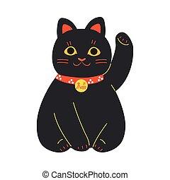 cuello, tradicional, gato, negro rojo, levantado, japonés, maneki, pata, neko
