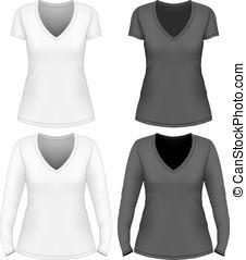 cuello v, camiseta, mujeres
