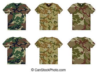 cuello v, militar, hombres, camisetas
