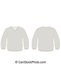 cuello v, suéter, vector, illustration.