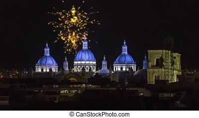 Cuenca, Ecuador - Fireworks Over New Cathedral Domes.