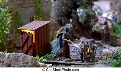 Largest animated nativity scene in South America. Man is...