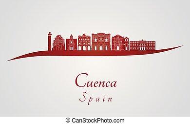 Cuenca skyline in red